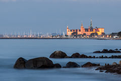 Kronborg Castle in the blue hour of twilight royalty free stock image