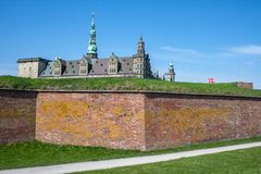 Kronborg castle in Elsinore, Denmark. This is the castle where Hamlet is played out. It is located in Elsinore, on the Danish side of the narrow strait between royalty free stock photography