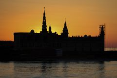 Kronborg castle in sunset sky Stock Photo