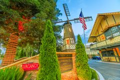 Kronborg Inn hotel Solvang. Solvang, California, United States - August 10, 2018: Old Windmill at Kronborg Inn hotel in Solvang wine country of Santa Ynez Valley royalty free stock photos