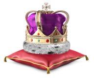 Krone auf Kissen Lizenzfreies Stockfoto