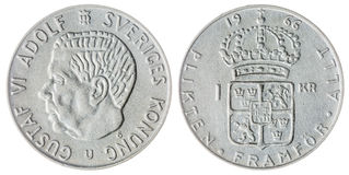 1 krone 1966 coin isolated on white background, Sweden. Silver 1 krone 1966 coin isolated on white background, Sweden stock images