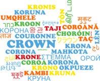 Krone mehrsprachiges wordcloud Hintergrundkonzept Lizenzfreies Stockbild