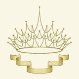 Krone mit Fahne Stockbilder