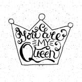 Krone mit Hand gezeichnetem Typografieplakat Lizenzfreies Stockfoto