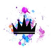 Krone mit Strahlnillustrationsluxusweinleseart lizenzfreie abbildung