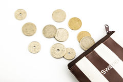 Krone sweden coins and purse Royalty Free Stock Photography