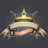 Krone und Fahne Lizenzfreie Stockbilder