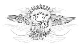 Krone und Schild mit geflügeltem Eagle Insignia Stockfotografie
