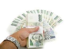 Kronen des Nennwertes einer und zwei tausend der tschechischen Banknoten Lizenzfreie Stockfotos