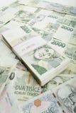 Kronen des Nennwertes einer und zwei tausend der tschechischen Banknoten Lizenzfreie Stockfotografie