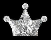 Kronen-geformter Diamant über Schwarzem Lizenzfreies Stockbild