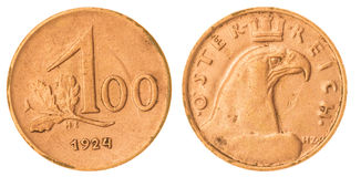 100 kronen het muntstuk van 1924 op witte achtergrond, Oostenrijk wordt geïsoleerd dat Royalty-vrije Stock Foto