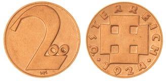 200 kronen la pièce de monnaie 1924 d'isolement sur le fond blanc, Autriche Image libre de droits