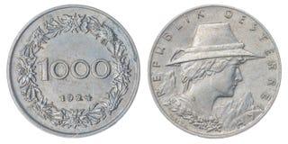 1000 kronen a moeda 1924 isolada no fundo branco, Áustria Foto de Stock Royalty Free