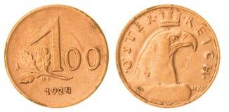 100 kronen mynt som 1924 isoleras på vit bakgrund, Österrike Royaltyfri Foto