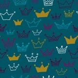 Kronen naadloos patroon op pastelkleurachtergrond Vector illustratie Eindeloos patroon Royalty-vrije Stock Foto's
