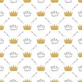 Kronen-nahtloses Muster, Handgezogene königliche Gekritzel Hintergrund, Vektor-Illustration vektor abbildung