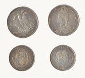 Kronen-u. Halbkronenstück-Münzen BRITISCH Stockfoto