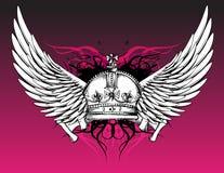 Kronen-und Flügel-Tätowierung auf Rosa stock abbildung