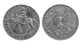 Kronenmünze des silbernen Jubiläum-1977 Pferd und Krönungsinsignien stockbilder