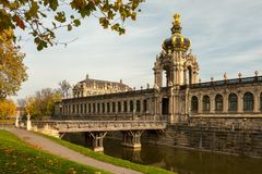 Kronentor of Zwinger in Dresden Germany in autumn stock photo