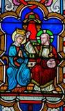 Kroning van Moeder Mary door Jesus Christ in Hemel stock foto