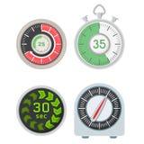 Kronometer för larm för design för minut för tecken för tid för illustration för timme för symbol för nedräkning för stoppur för  vektor illustrationer
