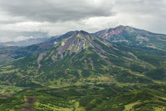 Kronotsky Nature Reserve on Kamchatka Peninsula. View from helicopter. Stock Photos