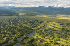 Kronotsky Nature Reserve on Kamchatka Peninsula. View from helicopter. Stock Photo