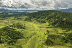 Kronotsky Nature Reserve on Kamchatka Peninsula. View from helicopter. Royalty Free Stock Photos