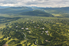 Kronotsky Nature Reserve on Kamchatka Peninsula. View from helicopter. Stock Images