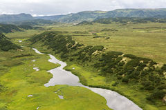 Kronotsky Nature Reserve on Kamchatka Peninsula. View from helicopter. Stock Image