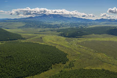 Kronotsky Nature Reserve on Kamchatka Peninsula. View from helicopter. Royalty Free Stock Image