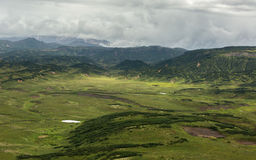 Kronotsky Nature Reserve on Kamchatka Peninsula. View from helicopter. Royalty Free Stock Photography