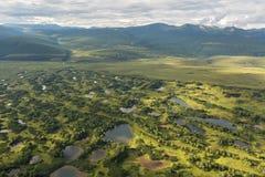 Kronotsky rezerwat przyrody na półwysepie kamczatka Widok od helikopteru Zdjęcie Stock