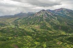 Kronotsky rezerwat przyrody na półwysepie kamczatka Widok od helikopteru Obrazy Royalty Free