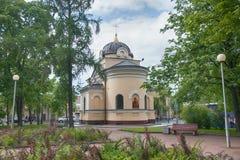 Kronstadt 上帝的母亲的Tikhvin象的教堂 免版税库存照片