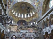 Kronstadt 俄国 圣Nicho海军大教堂的内部  库存照片