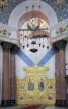 Kronstadt 俄国 圣Nichol海军大教堂的内部  图库摄影