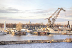 Kronstadt  city. RUSSIA, KRONSTADT - April 27.2013: Port city on the island of Kotlin Stock Photography