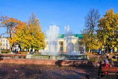 Kronstadt gold autumn old people royalty free stock images