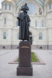 Kronstadt. A monument to the admiral Fyodor Ushakov. Kronstadt. A monument to the admiral Fyodor Fyodorovich Ushakov before St. Nicholas Naval Cathedral Royalty Free Stock Photos