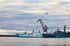 Kronstadt port. Several ships at the port in Kronstadt Royalty Free Stock Photos
