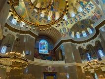 KRONSTADT, RÚSSIA - 21 de julho de 2015: ² Neo-bizantino interior da decoração Ð da catedral ortodoxo do russo naval Imagem de Stock