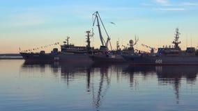Evening in June in the Harbor of Kronstadt, Russia stock video