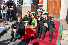 Kronstadt, RUSSIA - Sep 5 2012, Actors Dmitry Ulyanov, Maksim Averin and Mitya Labush etc on the set of the TV series about Russia Royalty Free Stock Image