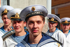 Kronstadt, RUSSIA - Sep 5 2012, The actors of the second plan on the set of the TV series about Russian officers-submariners Royalty Free Stock Photo