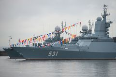 Corvette at the pier. KRONSTADT, SAINT PETERSBURG, RUSSIA - AUGUST 21, 2017: warships docked in Peter the great middle harbour Stock Image