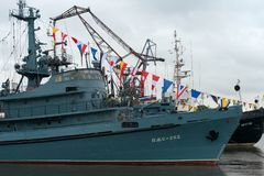 Fire ship of the Baltic Fleet PZHS-282. KRONSTADT, SAINT PETERSBURG, RUSSIA - AUGUST 21, 2017: warships docked in Peter the great middle harbour Stock Photo